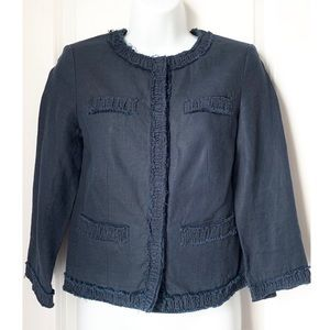 Michael Kors Navy 3/4 Sleeve Cropped Button Blazer